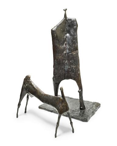 Ezrom Kgobokanyo Sebata Legae (South African, 1938-1999) Shepherd (Man with Goat), 1991 shepherd measures 112 x 60.2 x 40.5 cm; goat measures 50.8 x 62 x 18cm