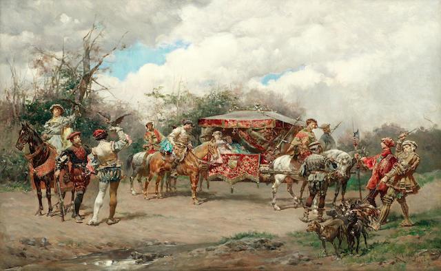 Ludovico Marchetti (Italian, 1853-1909) The hawking party