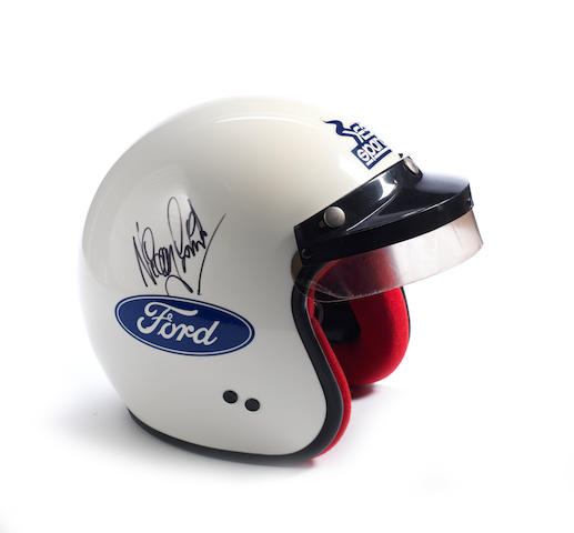 A signed Colin McRae and Nicky Grist promotional 1999 Martini Ford World Rally Championship open face helmet by Sparco,