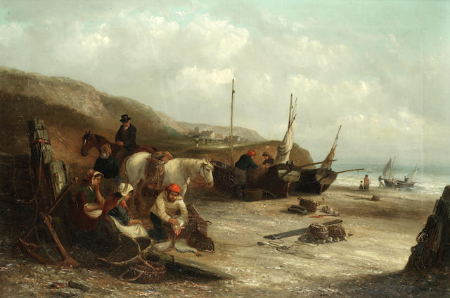 Thomas Smythe (British, 1825-1906) Shore scene with fisherfolk