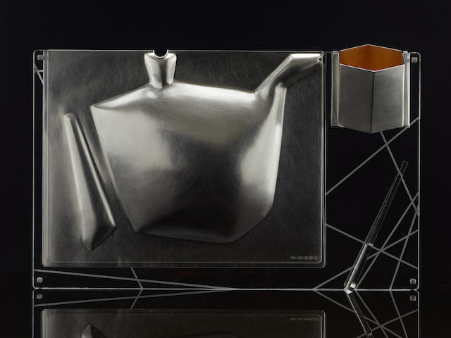 RAJESH GOGNA: A silver iced-teapot and cup, with acrylic support Birmingham 2015