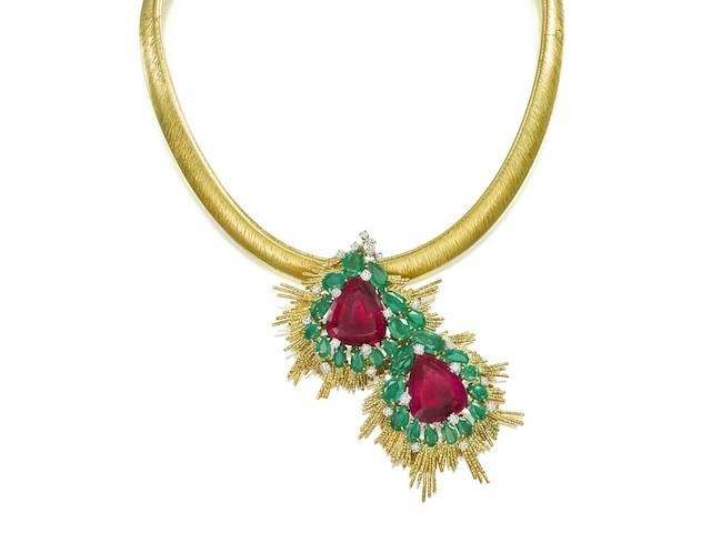 An 18 carat gold, pink tourmaline, emerald and diamond pendant, by Andrew Grima,