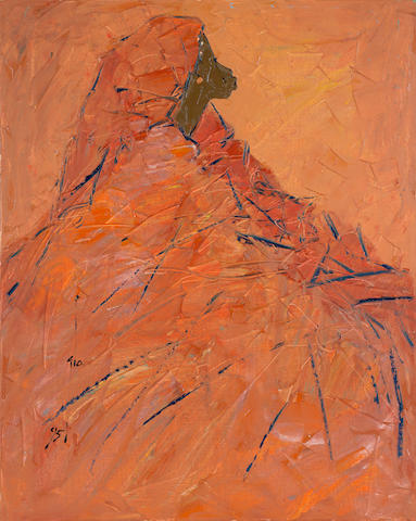 Ablade Glover (Ghanaian, born 1934) Orange woman in profile