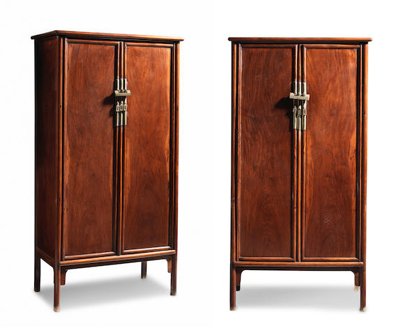 An important and exceedingly rare pair of large huanghuali tapering cabinets, yuanjiaogui Ming Dynasty, 16th/17th century (6)