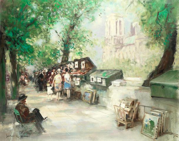 Jules René Hervé (French, 1887-1981) Notre-Dame Cathedral from Quai de Montebello