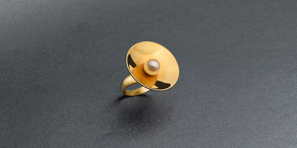 A cultured pearl dress ring, by Georg Jensen, 1969