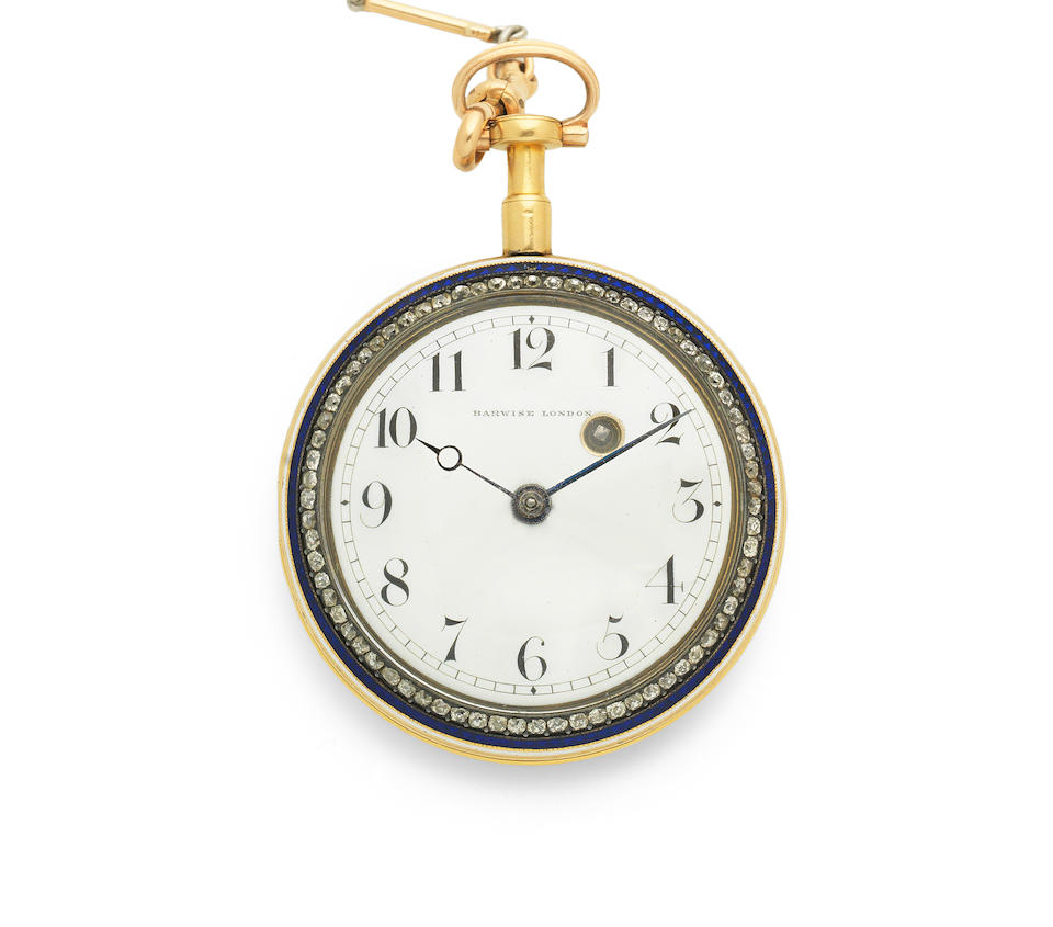 Barwise, London. A gold, enamel and diamond set key wind open face pocket watch Circa 1830