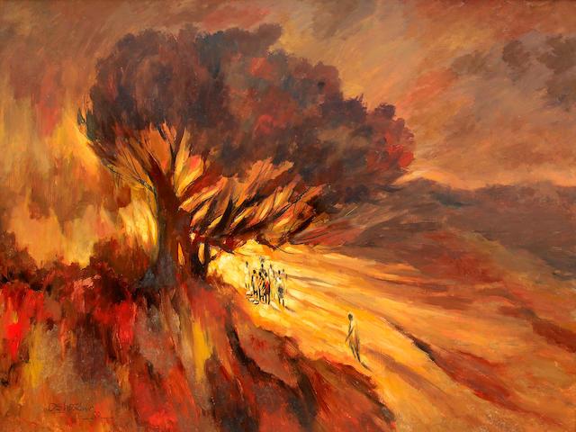 Kolade Oshinowo (Nigerian, born 1948) A gathering at sunset