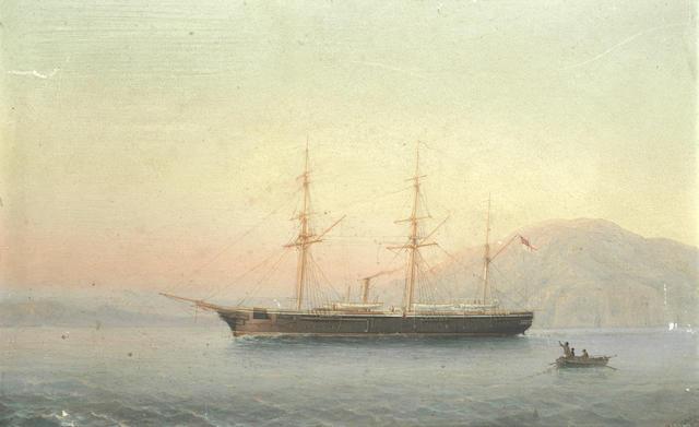 Girolamo Gianni (Italian, 1837-1895) A screw sloop of the Royal Navy off the Maltese coast