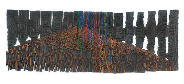 El Anatsui (Ghanaian, born 1944) To the Sacred Mountain (Mammoth Crowd Series No.3) ((in 16 pieces).)