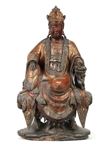 A very rare gilt-lacquered wood documentary figure of Guanyin  Cyclically dated by inscription to Dingmao year, corresponding to 1567 or 1627, and of the period