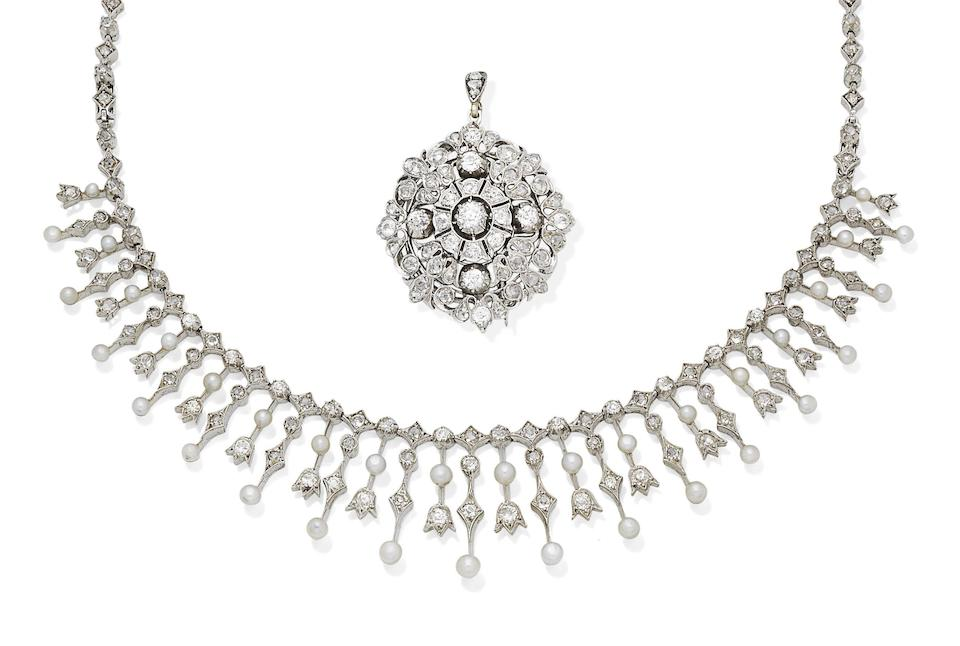 A pearl and diamond tiara/necklace and brooch/pendant, circa 1890 (3)