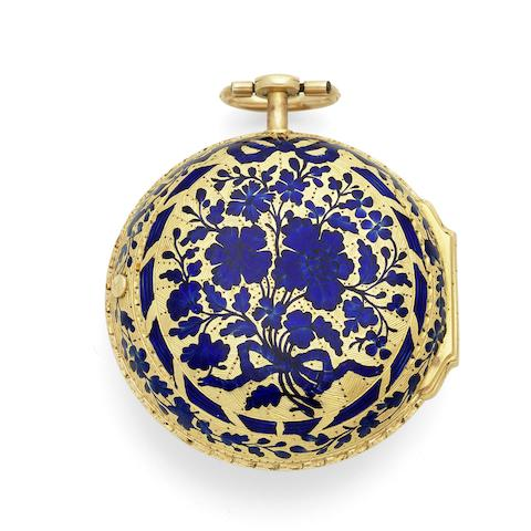 James Vigne, London. A gold key wind pair case pocket watch with enamel decoration and gilt shagreen outer case Inner case with London Hallmark for 1759
