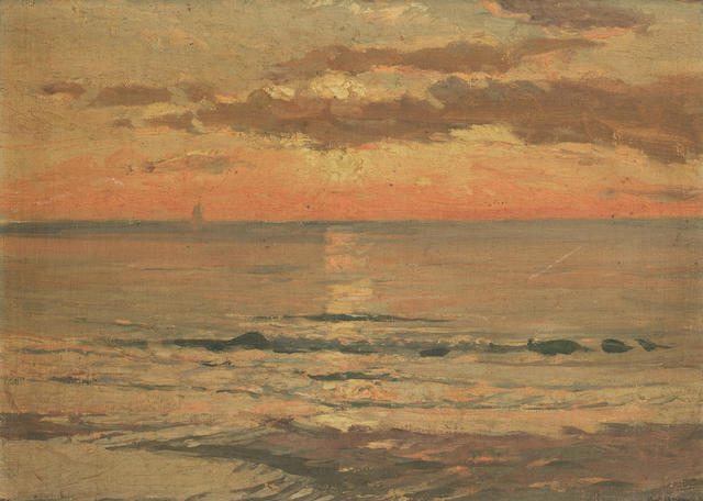 Sir John William Ashton (Australian, 1881-1963) Sunset; Across the bay, a pair each 26 x 36.2cm (10 1/4 x 14 1/4in). (2)