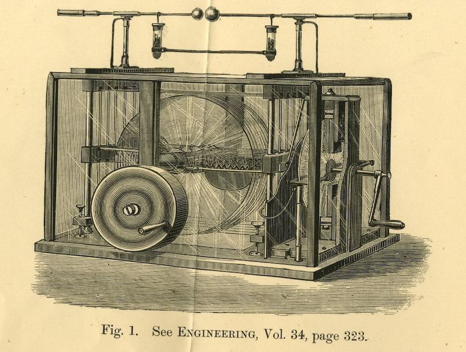 A rare twelve-plate Wimshurst electrostatic generator,  English, circa 1885,