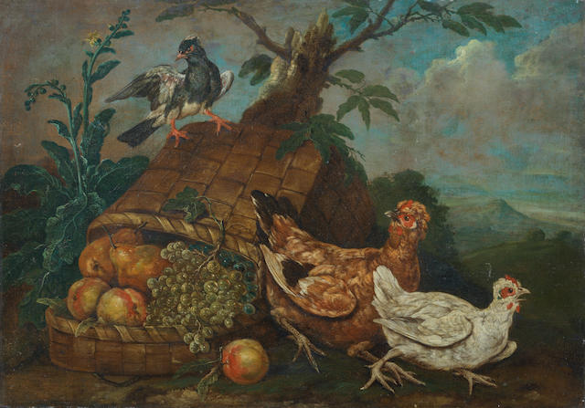 Giovanni Agostino Cassana (Venice circa 1658-1720 Genoa) Birds and an upturned basket of fruit in a landscape