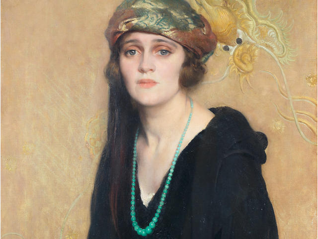 David Jagger R.O.I. (British, 1891-1958) The Jade Necklace 91.5 x 63.5 cm. (30 x 25 in.) (Painted in 1923)