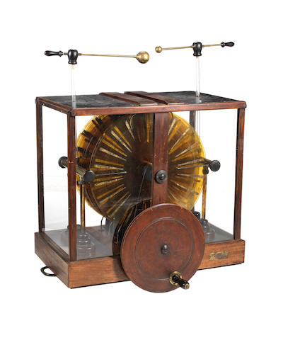 A rare twelve-plate Wimshurst electrostatic generator,  English, circa 1885,
