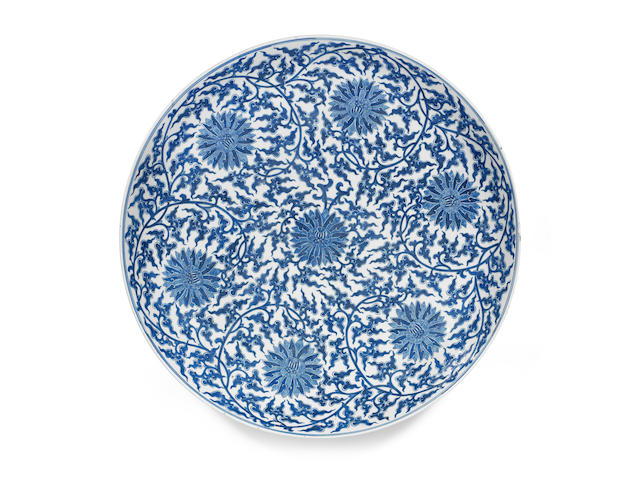 A massive blue and white 'lotus' dish Qianlong seal mark, 19th century (2)