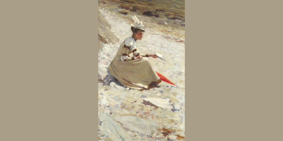 George Hall Neale (British, 1863-1940) Reading on the beach