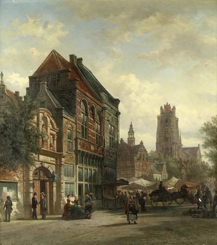 Elias Pieter van Bommel (Dutch, 1819-1890) Street scene, Dordrecht