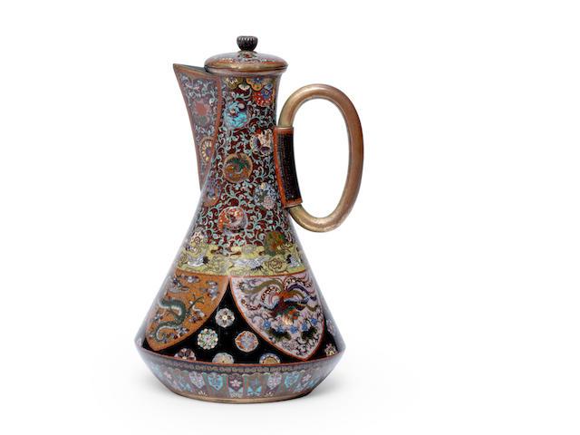 A cloisonné enamel coffee pot and cover Style of Namikawa Yasuyuki, Meiji era  (2)