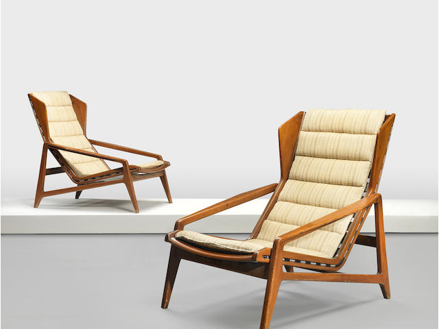 Gio Ponti,  A pair of Modello 811 armchairs c.1957 for Cassina Walnut, woven fabric upholtsery (original and modern replacement set), both chairs with manufacturer's label 71cm x 97cm x 86cm