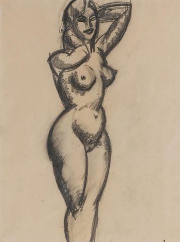John Duncan Fergusson RBA (British, 1874-1961) Nude 31.5 x 23.5 cm. (12 3/8 x 9 1/4 in.)