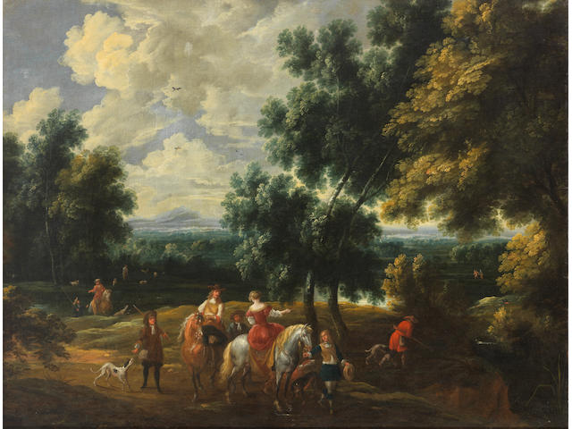 Attributed to Alexander Casteels (Antwerp active 1658-1682) A hunting party before an extensive landscape