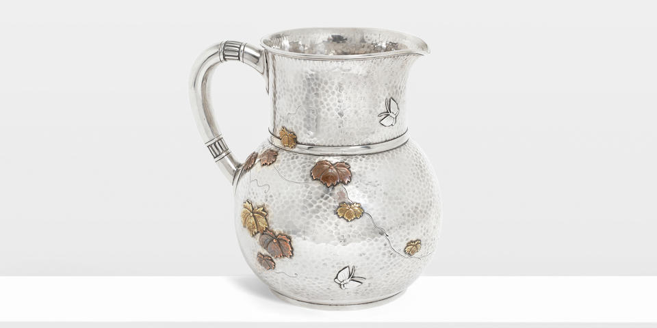An American silver and mixed metals pitcher by Tiffany & Co, Edward Moore period, New York circa 1878, with pattern/order numbers 4706/9031