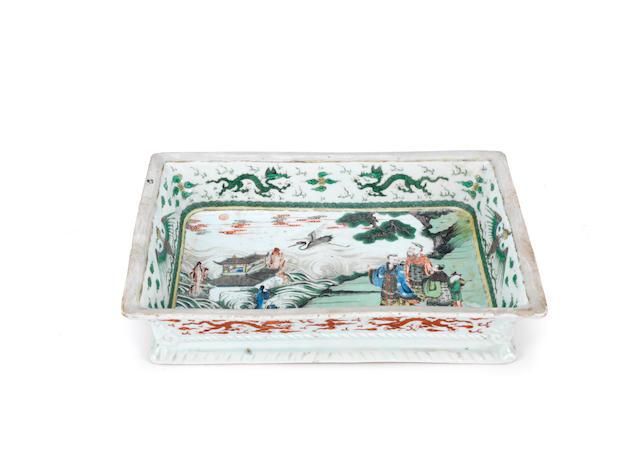 A famille verte and iron-red rectangular tray Kangxi