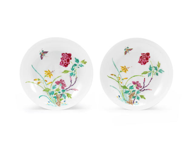 A pair of famille rose 'boneless' saucer dishes Yongzheng six-character marks and of the period (2)