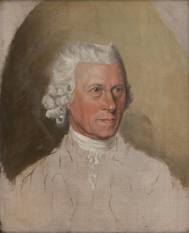 Peter Paillou (British, 1757-1831) Self portrait 37 x 31 cm. (14 9/16 x 12 3/16 in.) (to be offered with two letters (one of which is autograph))
