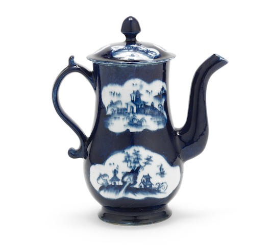 A good Lowestoft coffee pot and cover, circa 1765