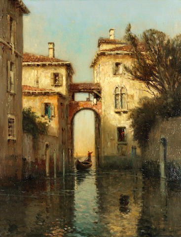 Antoine Bouvard (French, 1870-1956) Venetian bridge with gondola