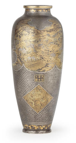 A slender inlaid-iron ovoid vase  By the Komai Company of Kyoto, Meiji era (1868-1912), late 19th/early 20th century (2)