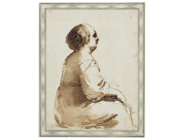 Giovanni Francesco Barbieri, called il Guercino (Cento 1591-1666 Bologna) A seated woman in profile, facing right (on a Casa Gennari mount, in an album assembled in the 18th century containing a watercolour of a turbaned man by Giuseppe Bernardino Bison, a brown wash drawing attributed to Giovanni Battista Cipriani and 57 drawings by various hands, mainly 17th and 18th century Italian  (album))