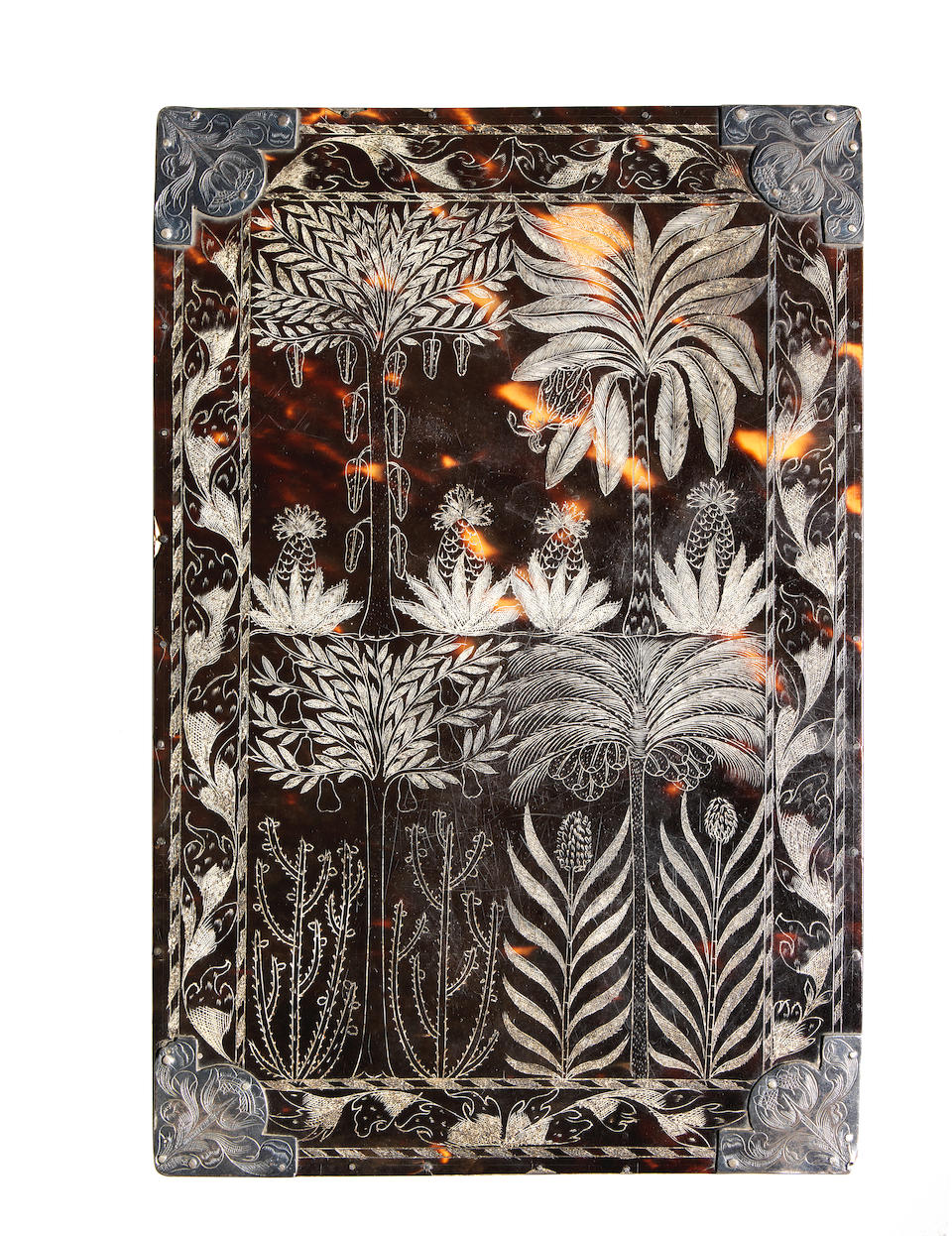 A rare late 17th century Jamaican Colonial engraved tortoiseshell and silver mounted wig comb case containing two combs dated 1683 possibly by Paul Bennett of Port Royal