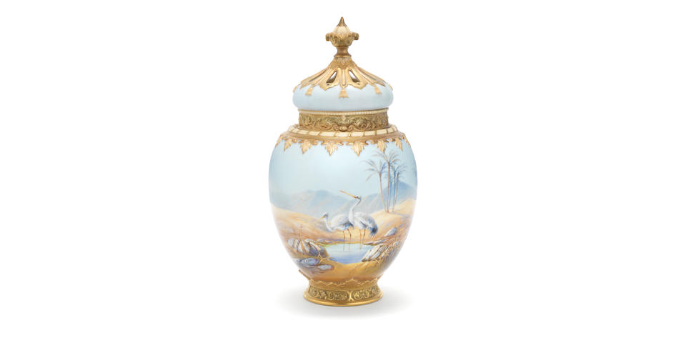 A fine Royal Worcester pot pourri vase, cover and inner cover by Harry Davis, dated 1916
