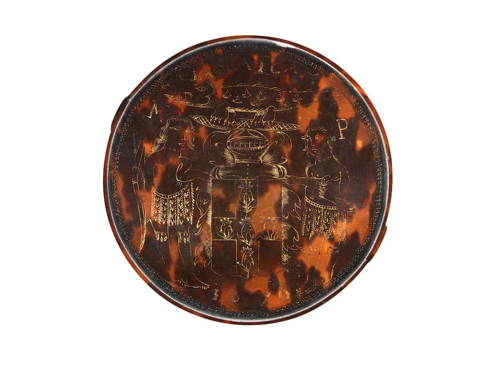 A rare late 17th century Jamaican Colonial engraved tortoiseshell powder box dated 1676 possibly by Paul Bennett of Port Royal