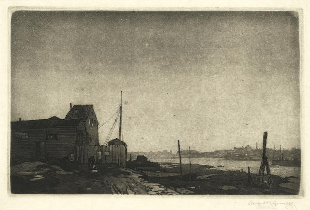 Leonard Russell Squirrell R.W.S., R.I., R.E. (British, 1893-1979) Estuary scene (Pl) (together with another etching and two pencil sketches by the same hand (4))