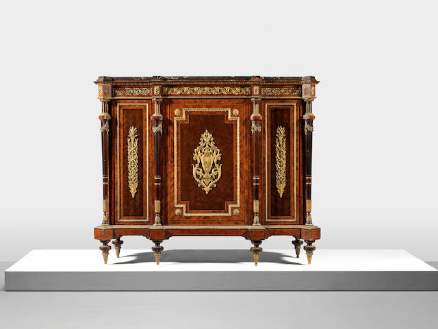 A pair of Napoleon III ormolu mounted kingwood, thuyawood, amaranth and parquetry hauteurs d'appui  (2)