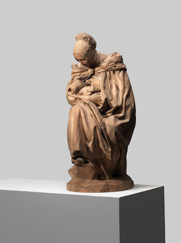 Aimé Jules Dalou (French, 1838-1902): A terracotta figural group of 'Boulonnaise Allaitant son Enfant (A seated figure of a mother nursing her baby)' possibly an experimental studio cast with hand working derived from an original plaster modelled after 1894