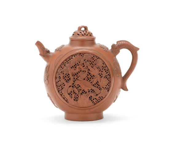An Yixing reticulated moonflask-shaped 'Three Friends of Winter' ewer and cover Early Qing Dynasty (2)