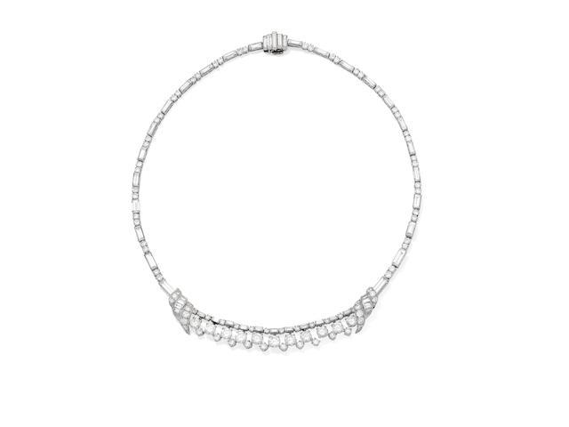A diamond collar necklace, circa 1950