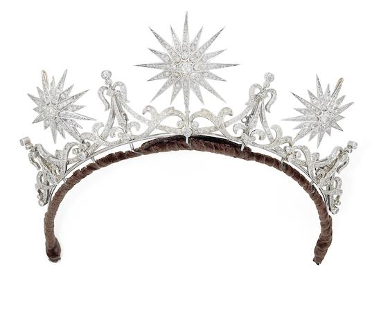 A diamond tiara, circa 1880-90