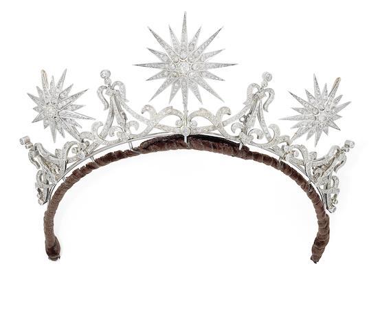 A diamond tiara, circa 1880-90