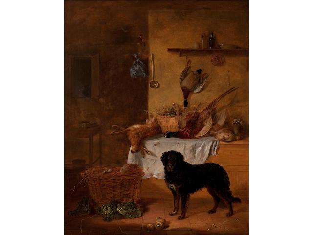 Edmund Bristow (British, 1787-1876) Gun dog in a game larder