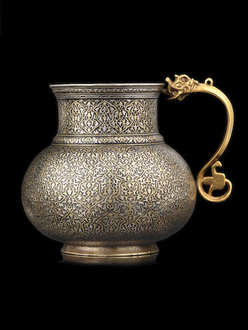 A rare late Timurid silver and gold inlaid bronze jug (mashrabah) by 'Ala' al-Din ibn Shams al-Din Muhammad Birjandi  Persia, probably Herat, dated AH 915/ AD 1509-10(2)