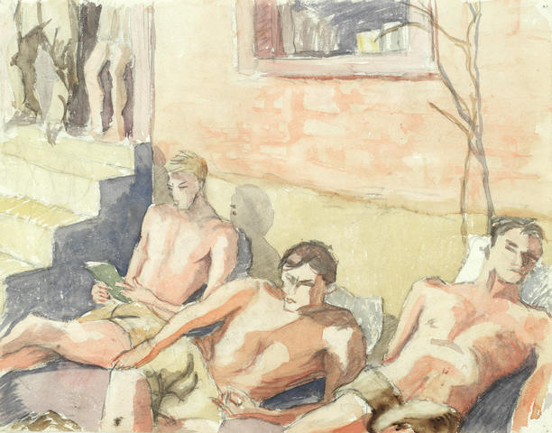 Earl George Alexander Eugene Douglas Haig OBE ARSA FRSA (British, 1918-2009) 'Sunbathing, Sulmona' (together with two further watercolours and two pencil sketches depicting scenes from a prisoner of war camp in Sulmona, Italy in 1943 (5) (all unframed))
